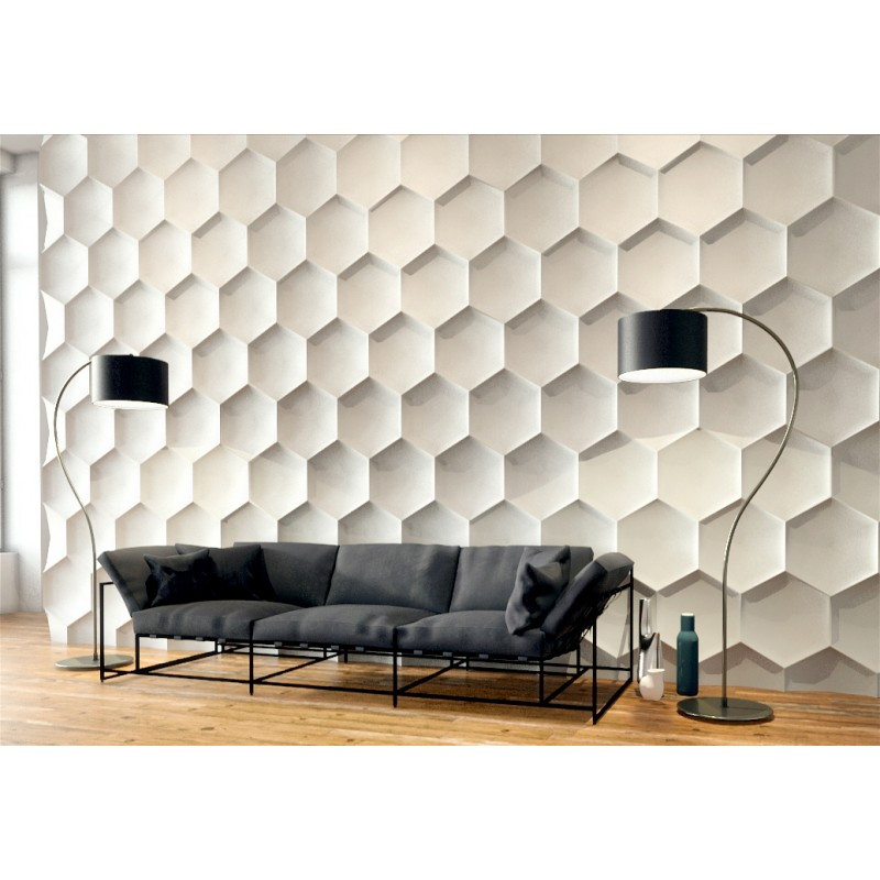 Hexagon gypsum plaster 3d wall panels for 3d wall covering