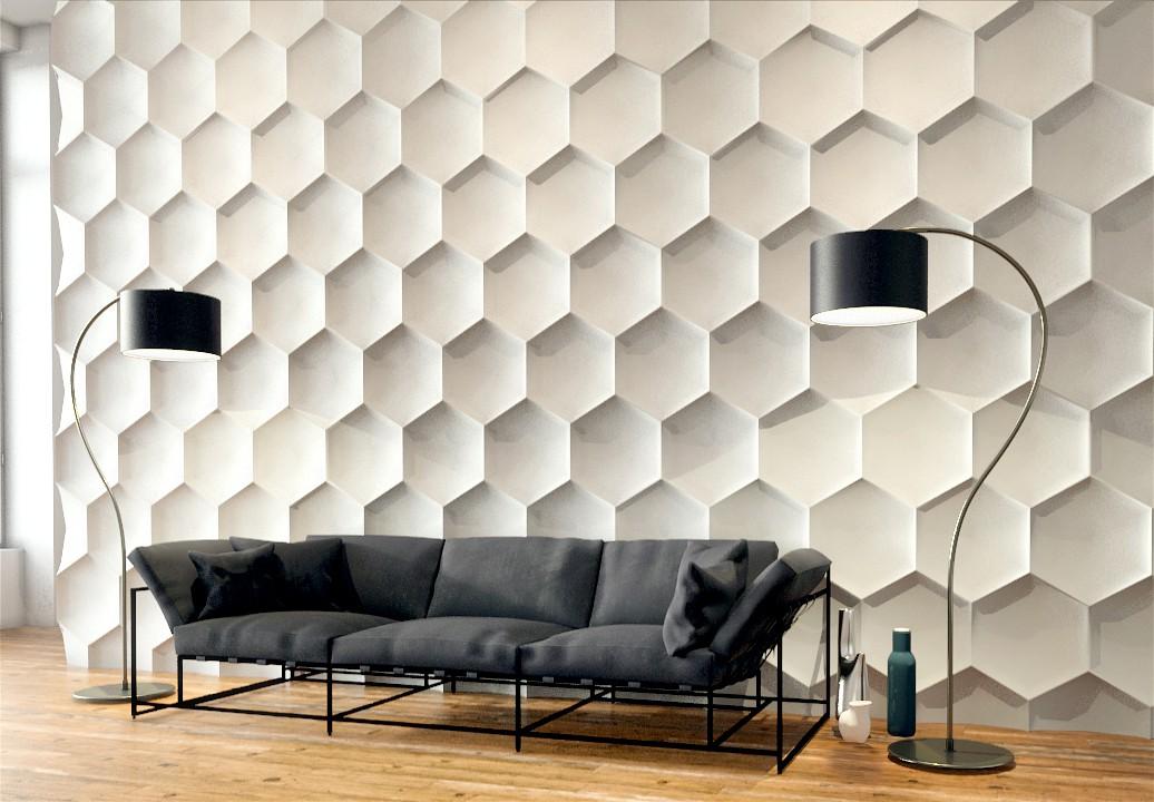 . Hexagon   Gypsum plaster 3D wall panels