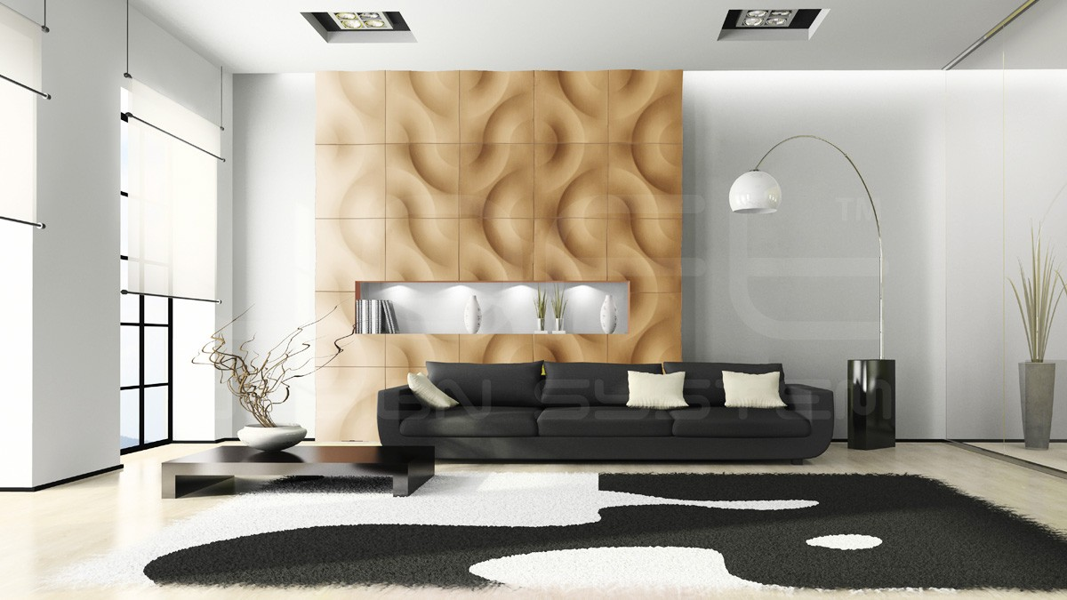 Curves Gypsum Plaster 3D Wall Panels